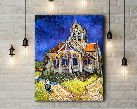 Vincent Van Gogh: Church at Auvers. Fine Art Canvas.